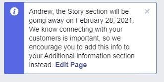 Remoção de história do Facebook