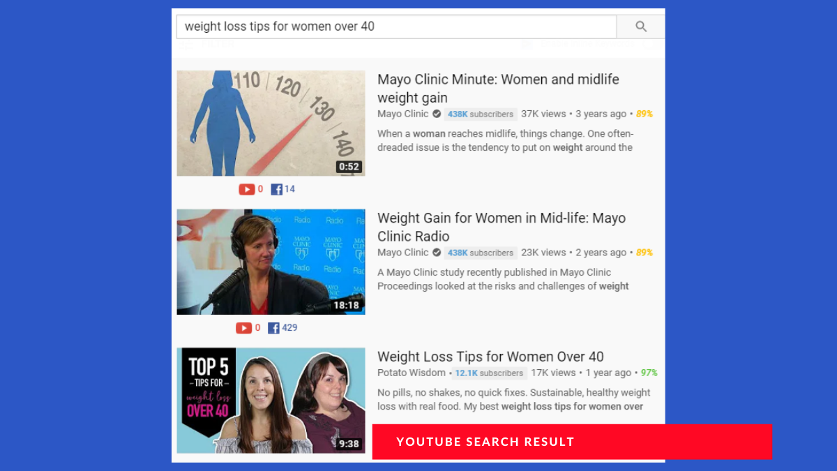 Grow on YouTube: search result