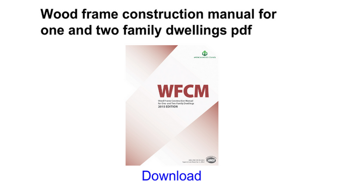 Wood Frame Construction Manual - Proga | Info
