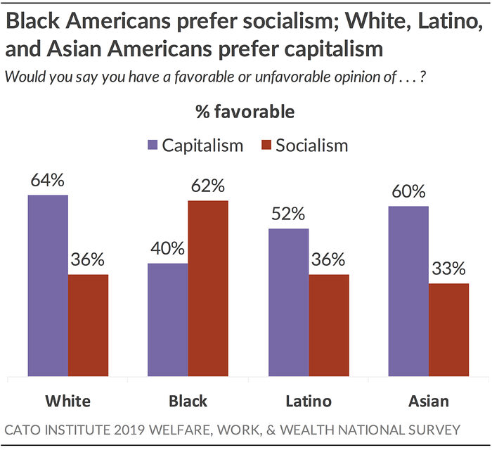 Black Americans prefer socialism; White, Latino, and Asian Americans prefer capitalism