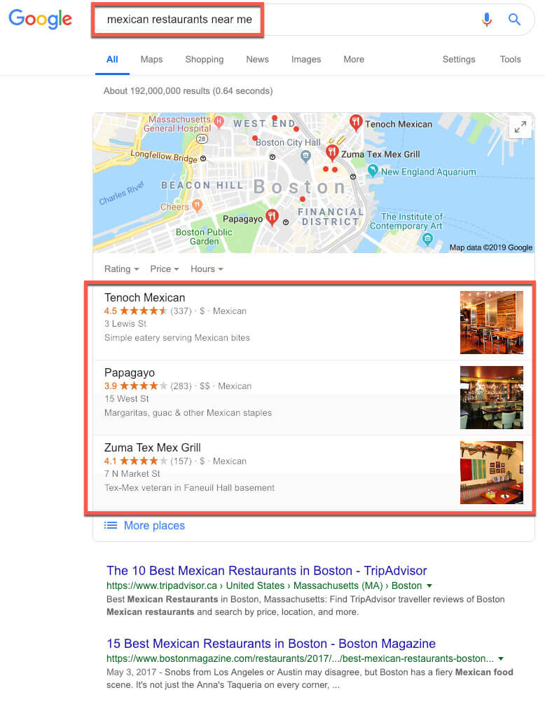 google my business for restaurants