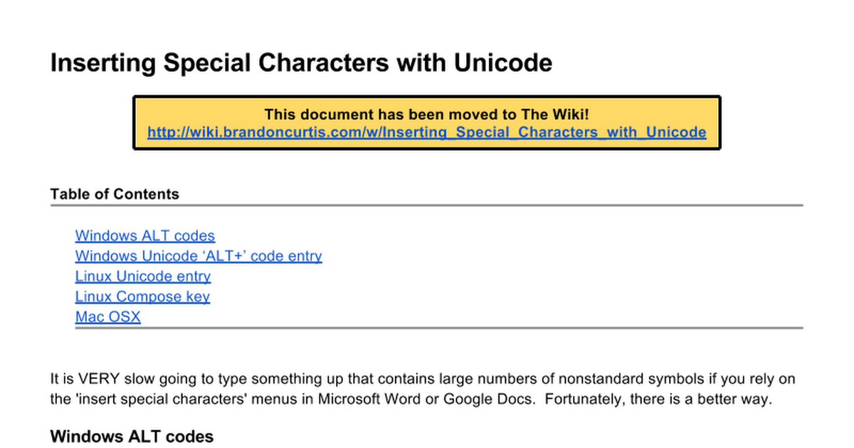 Bc Special Characters And Unicode Google Docs