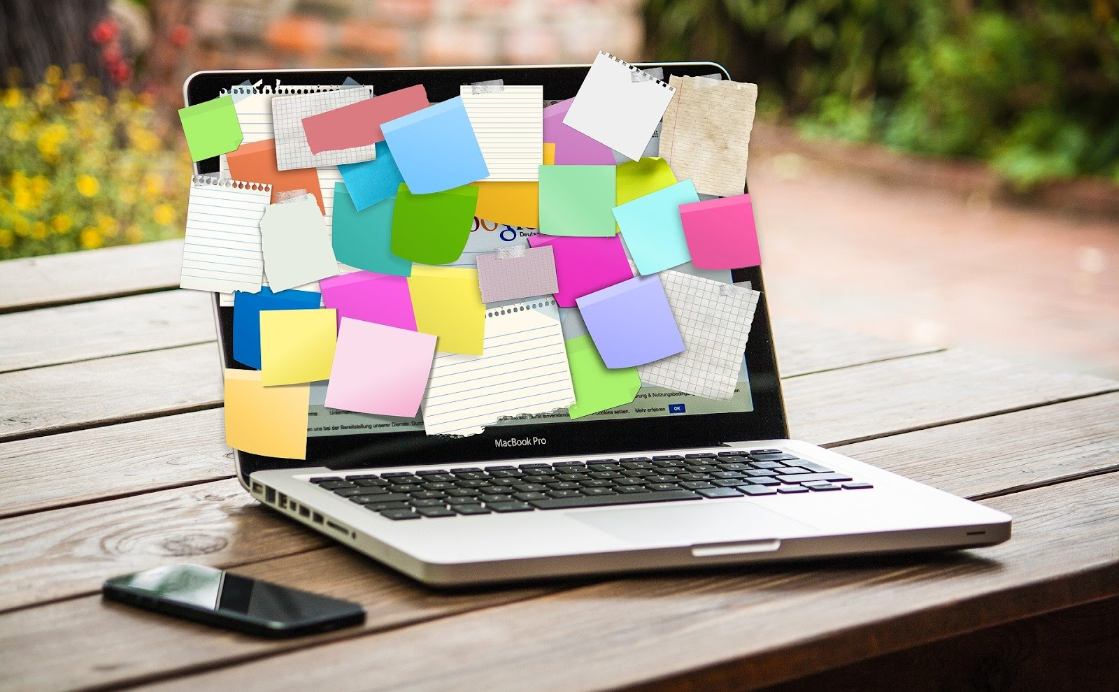 Laptop with post-it notes Bar exam study