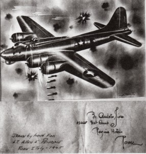 Drawing of B17 by Italian artist in 1945