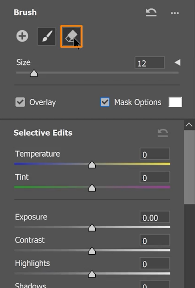 Select the Eraser tool by clicking on the eraser icon and use it to paint on areas you want to subtract from the selection