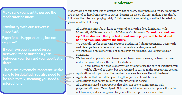 guide how to write an amazing moderator application mcgamer network