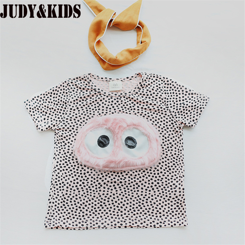 polka dot t shirts for baby girl summer girl clothing bobo choses kids tops tees 3D cartoon t shirt lolita Korean style shirt02 (2)