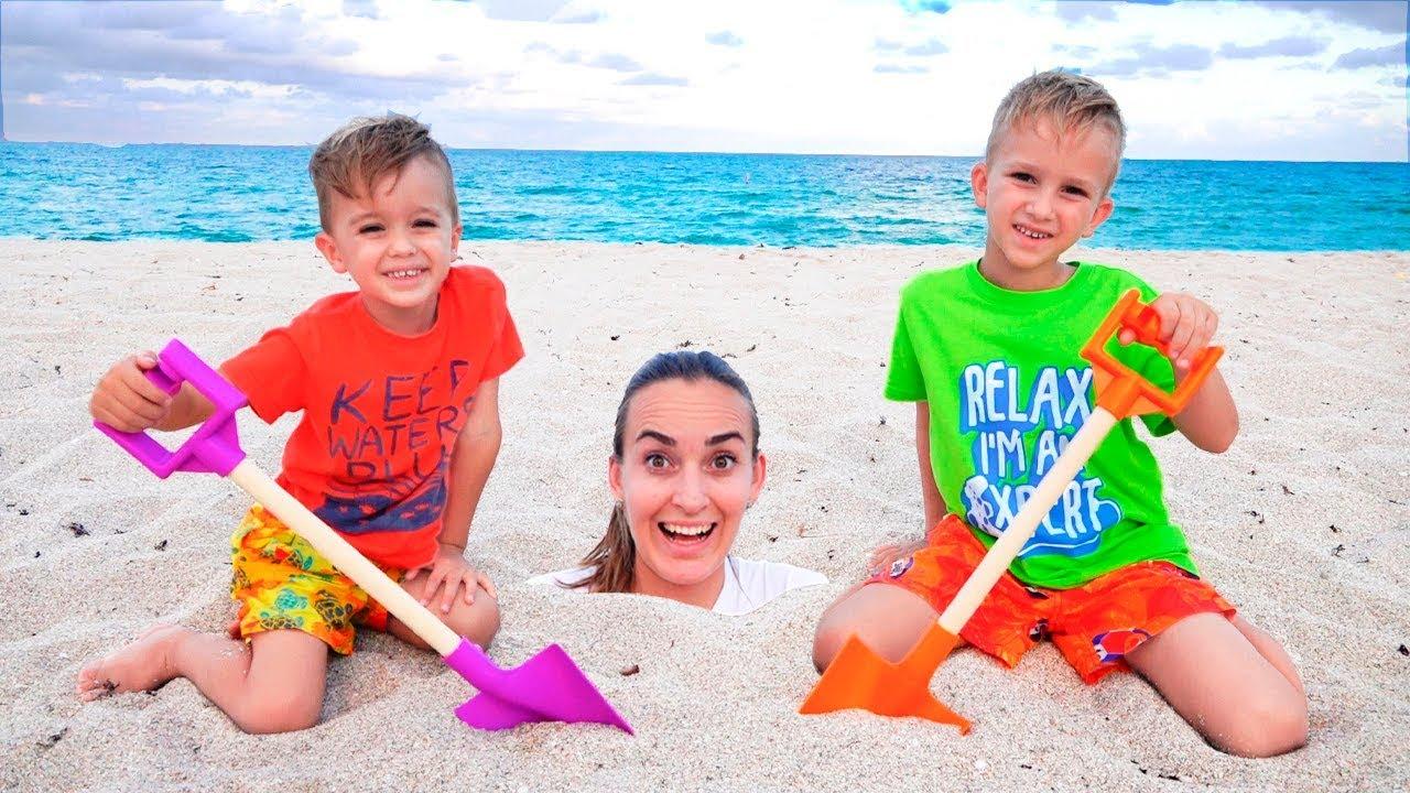 Vlad and Nikita on the beach | Richest Kids on Youtube