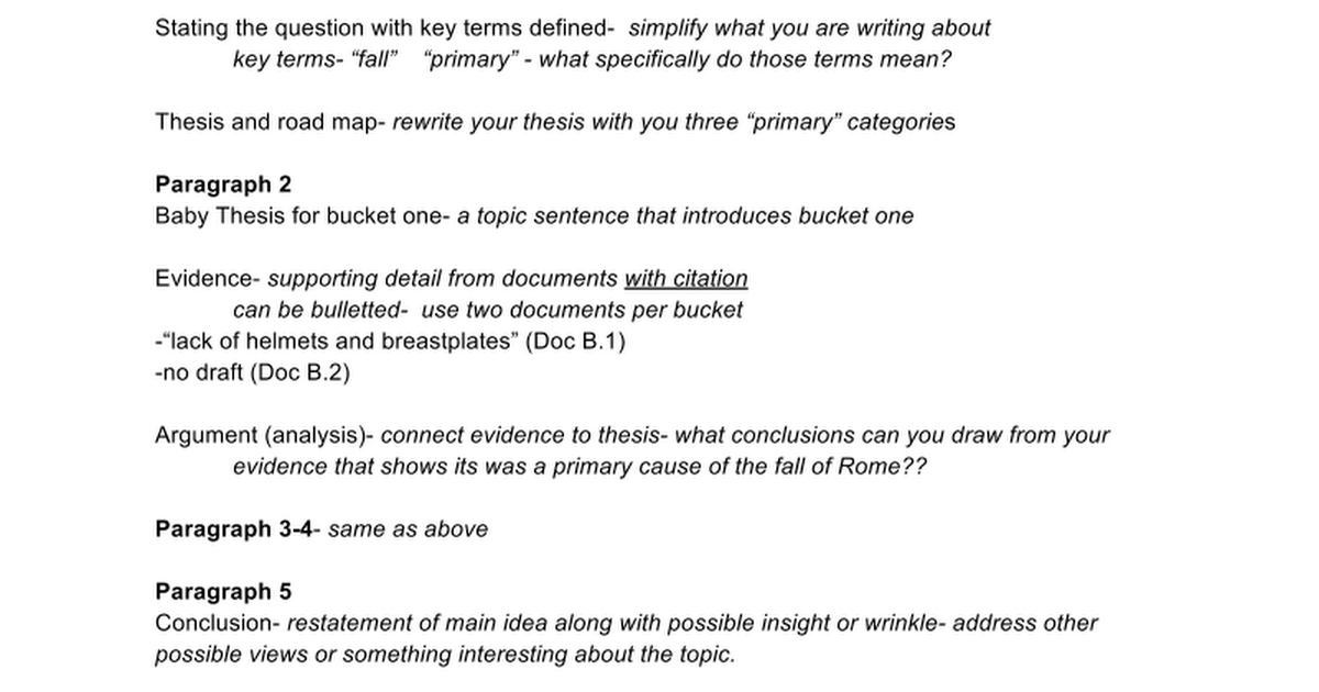 rome mini q sample outline google docs
