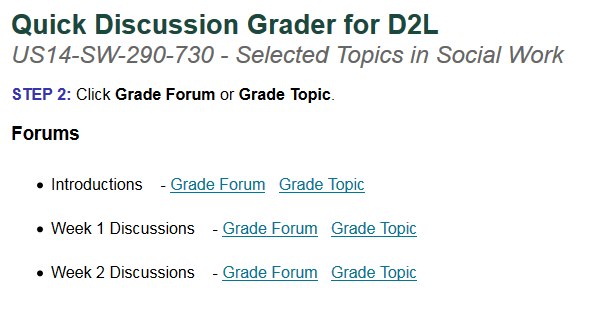 MSU D2L Help | Getting Started with the Quick Discussion Grader in D2L
