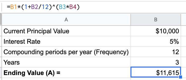 Calculating compound interest in Excel