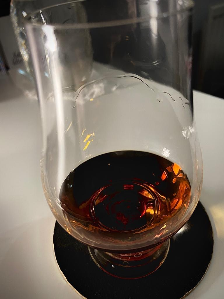 Glencairn glass showing the 'legs' of alcohol