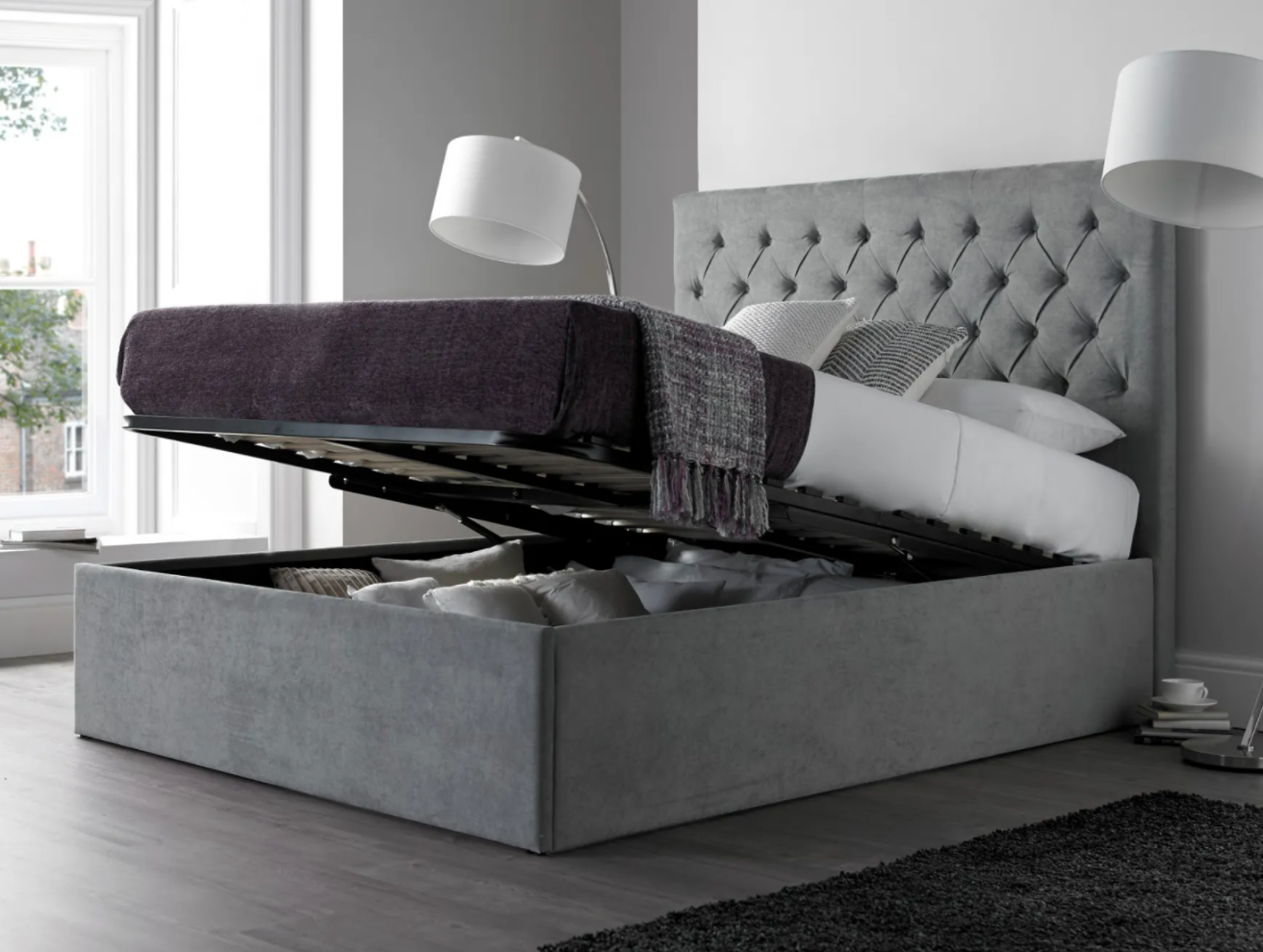 maxi steel grey upholstered ottoman bed with lift up storage