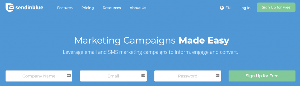 SendInBlue email marketing service landing page