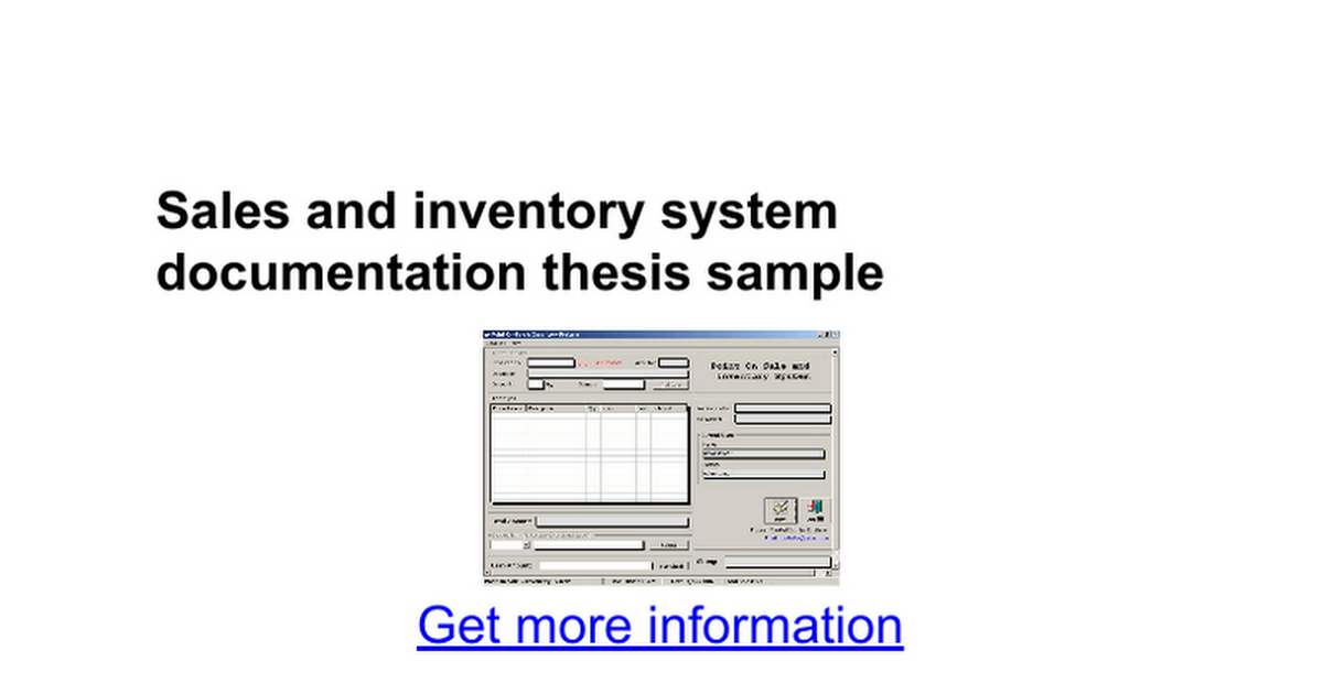 sample thesis about point of sales w inventory system Proposed design of an inventory database system at process research ortech system design prepared by andrew ramadeen manojav sridhar kunendran deivendran.