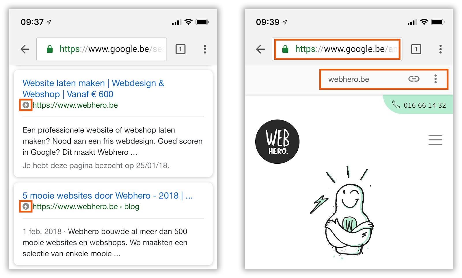 Hoe herken je AMP, website laten maken,  Webhero