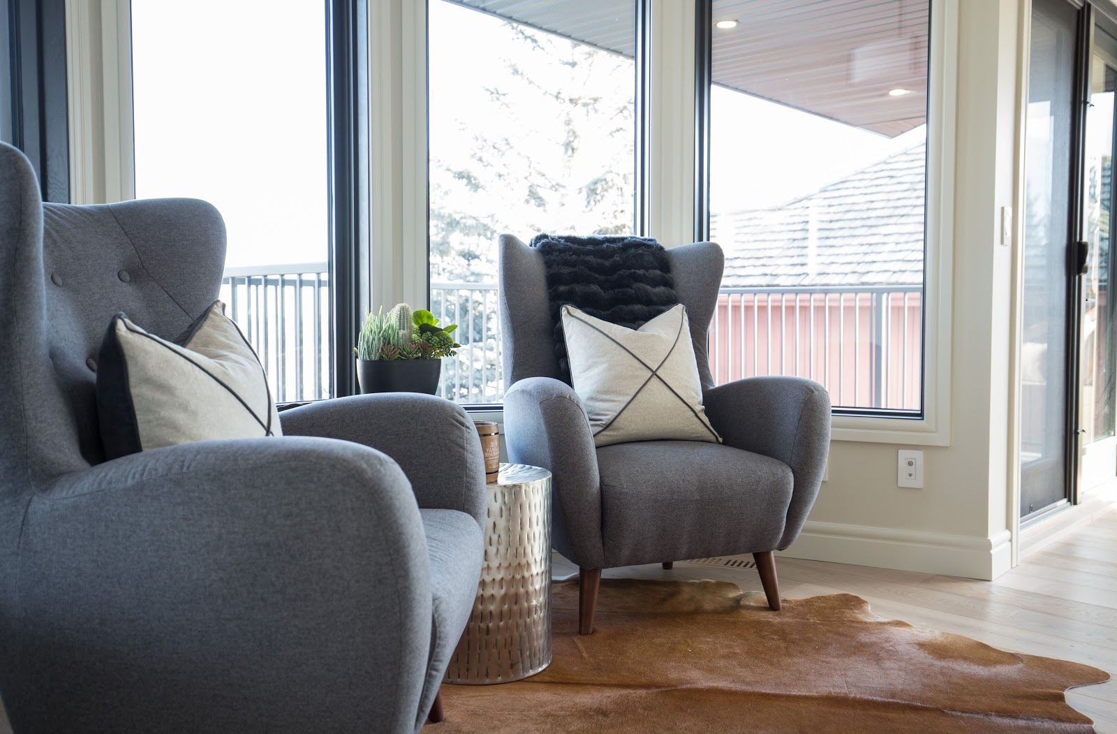 Calgary interior design modern traditional cosy elegant wingback chairs nook