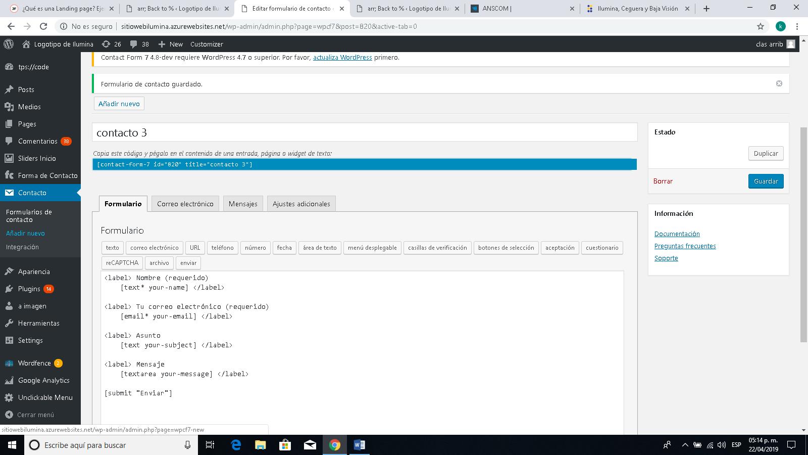 Cómo crear un formulario de contacto en Wordpress