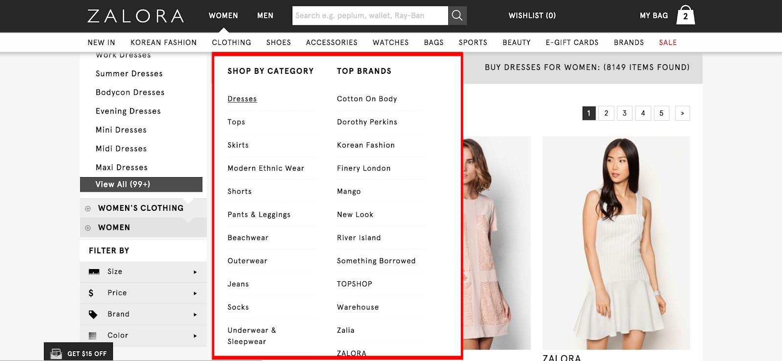 Zalora product category