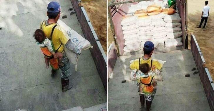 Papá cargando a su hijo en la espalda en horas de trabajo, albañil