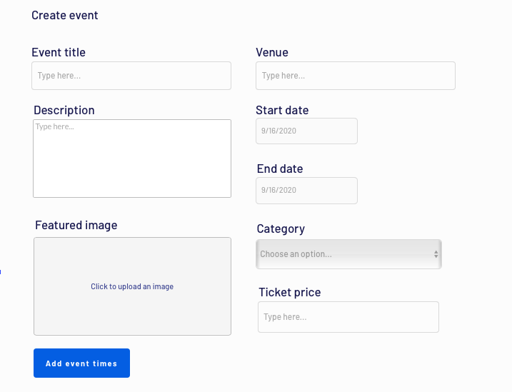Creating a new event in a no-code Ticketmaster clone app