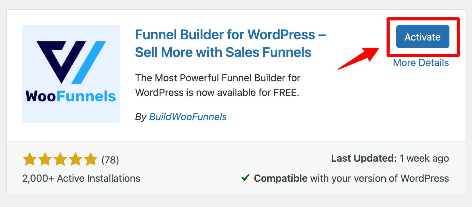 WooFunnels funnel builder activate
