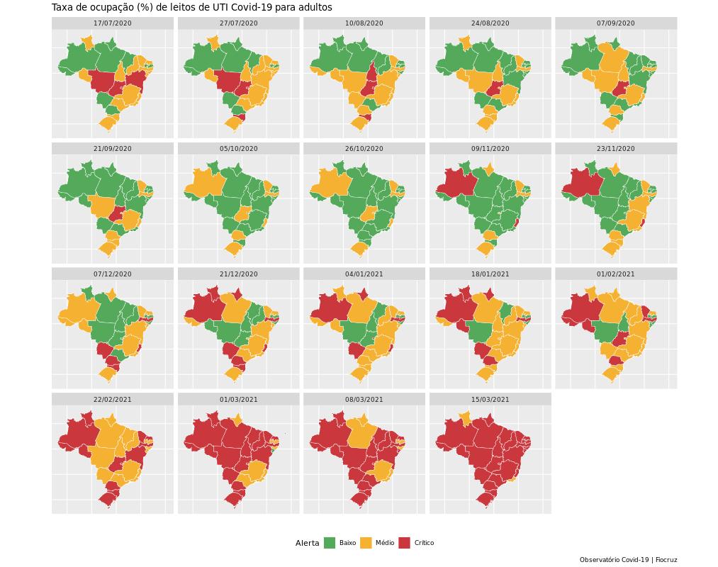 Dados da Fiocruz mostram que 24 estados brasileiros estão com leitos de UTI em estado crítico