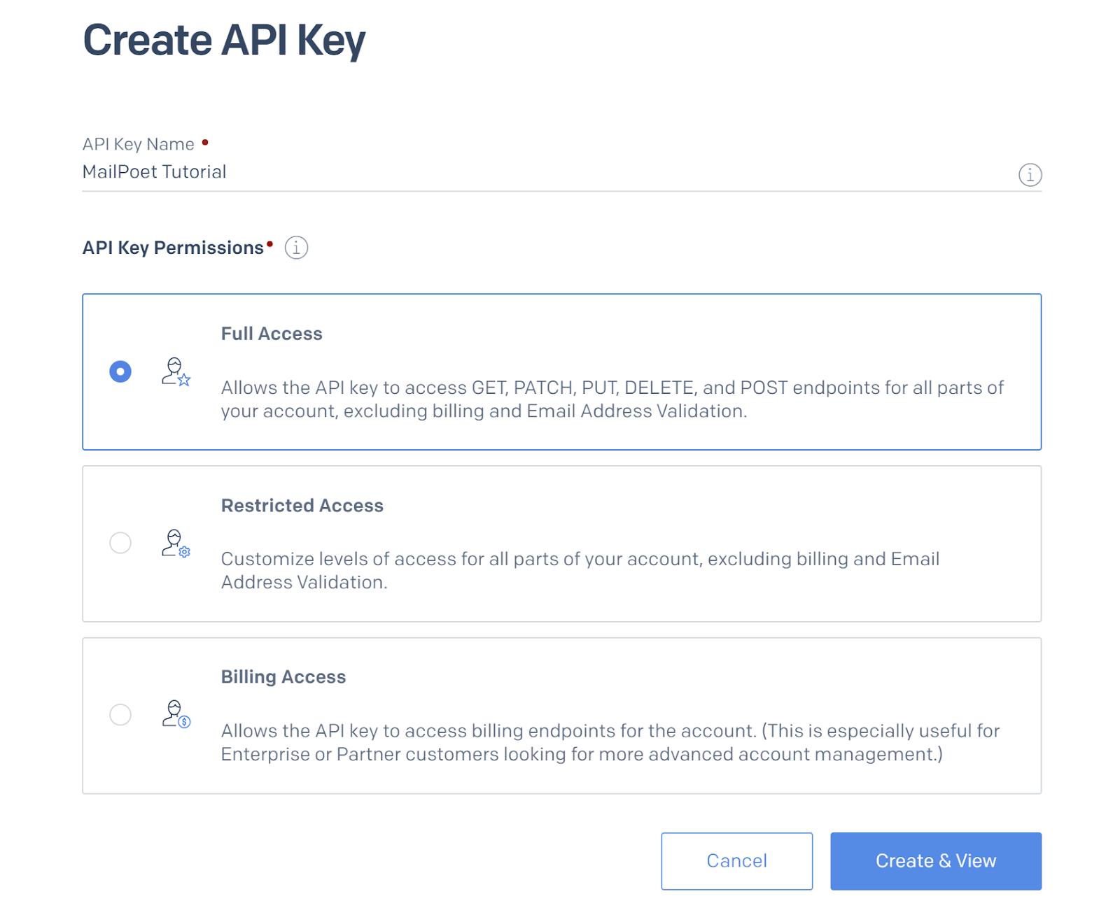 Screenshot of permissions options on SendGrid's Create API Key page