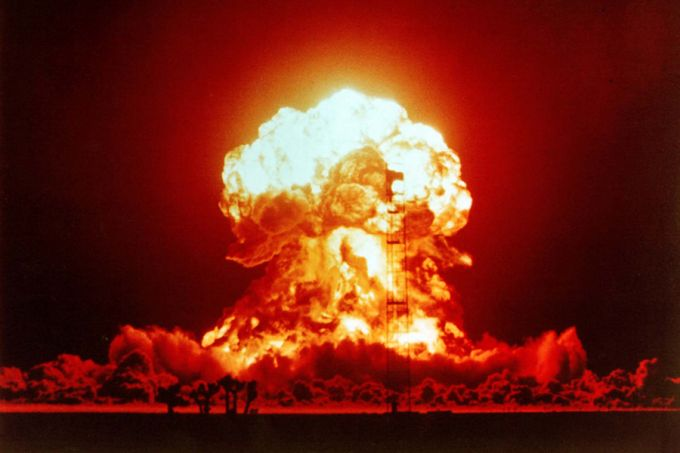 A nuclear bomb explosion at the Nevada Test Site, April 18, 1953. Photo courtesy of National Nuclear Security Administration/Nevada Site Office.