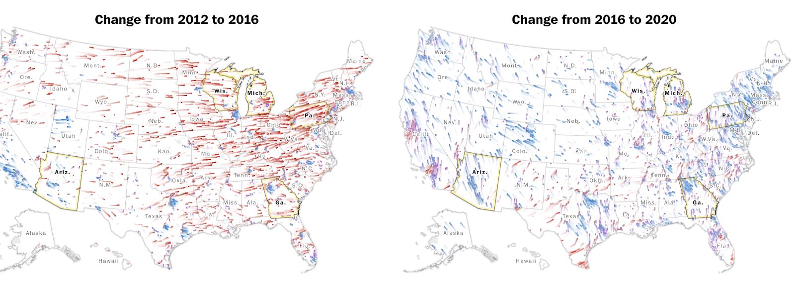 La datavisualisation a illustré les changements électoraux de la présidentielle américaine
