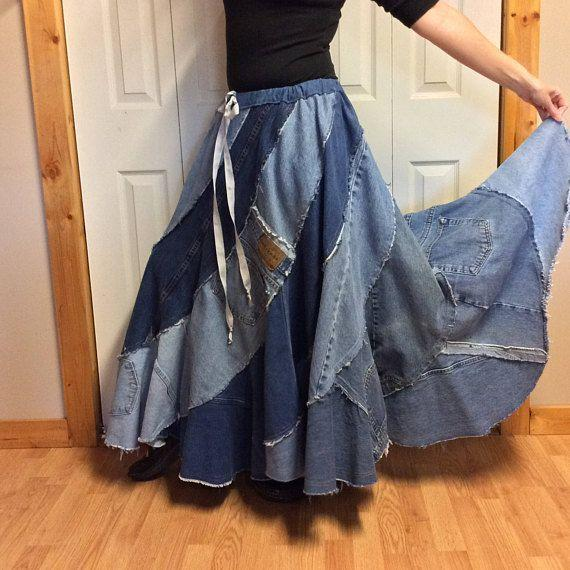 Pin on Handmade Recycled Blue Jean Skirts