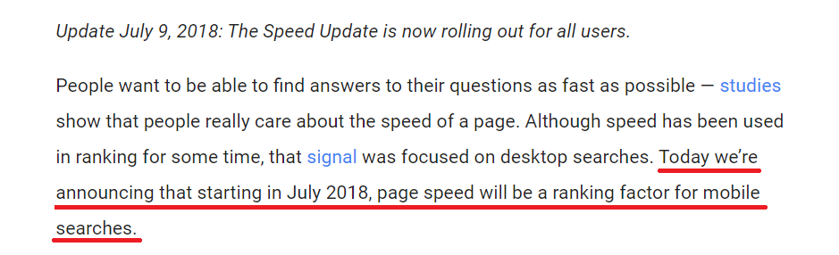 Google Speed Update ranking factor