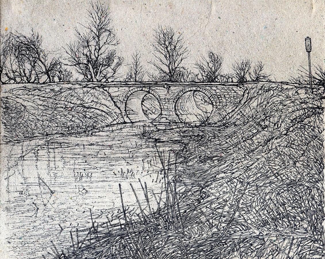 THE OLD STONE BRIDGE IN LATOR CREEK I - Sketch (Ink).jpg