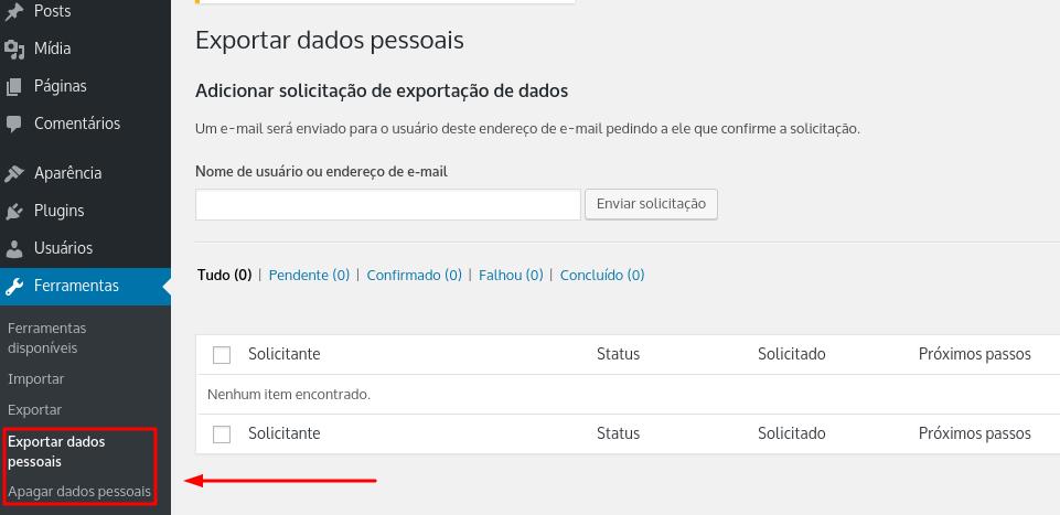 exportar ou apagar dados pessoais no wordpress
