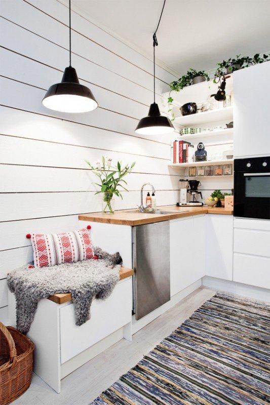 under bench storage in tiny kitchen