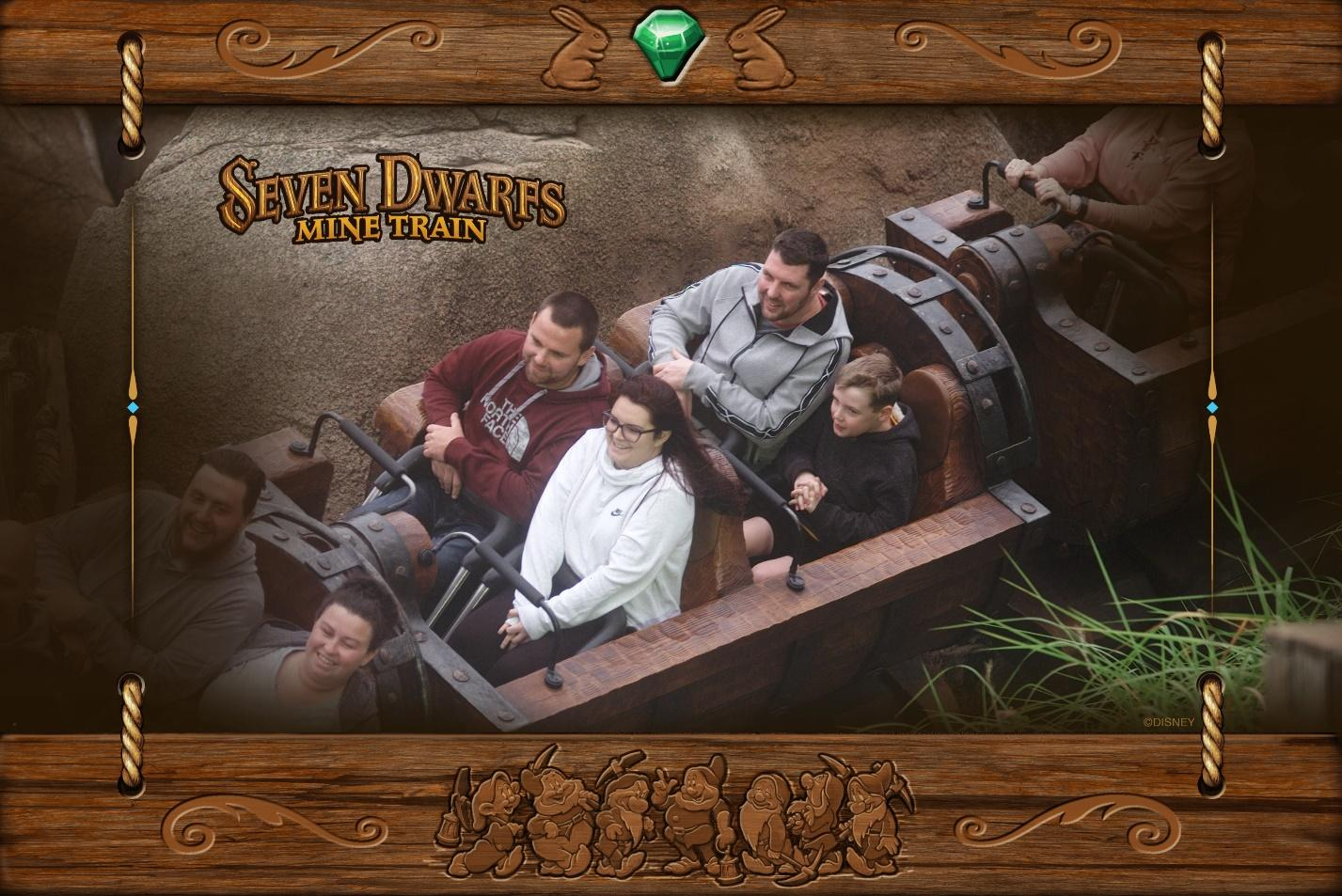 Disney's Memory Maker photo captures a family on the Seven Dwarfs Mine Train ride