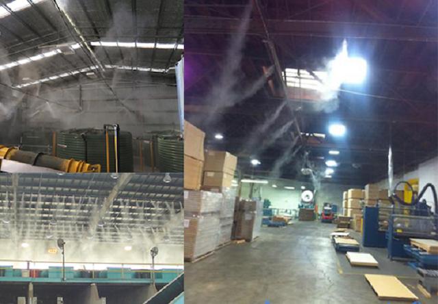 Máy phun sương công nghiệp khử mùi, bụi và hóa chất hiệu quả