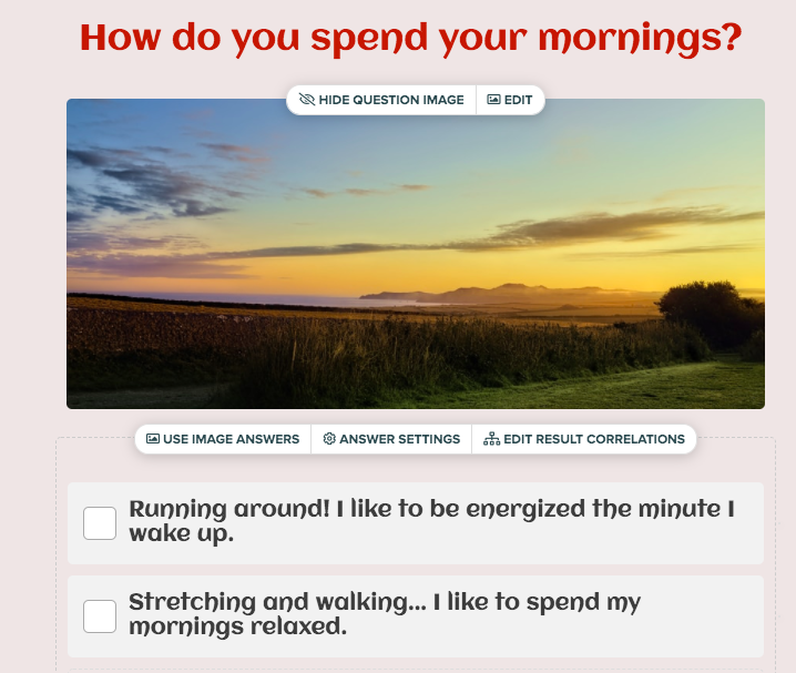 quiz question about how you spend your mornings with answer choices