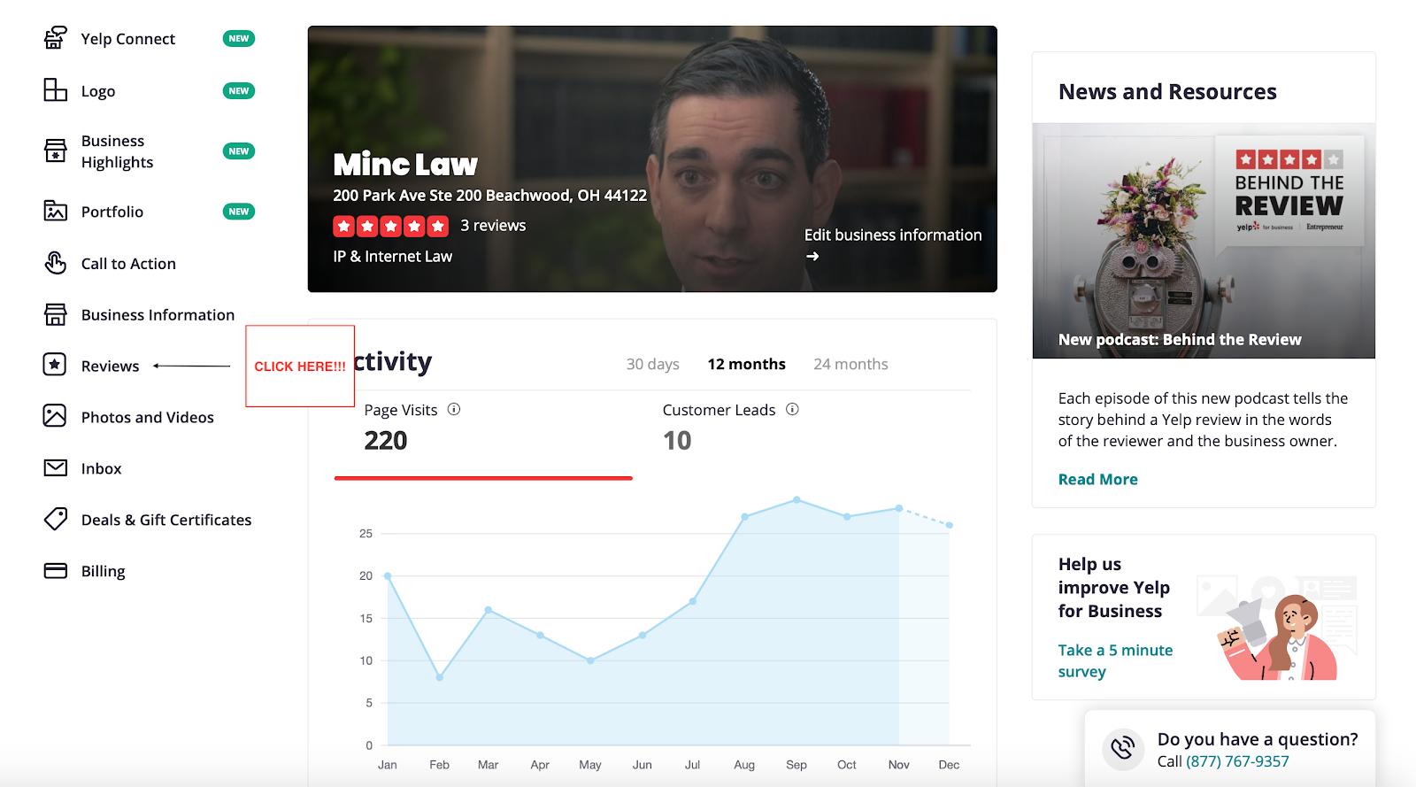 Yelp business dashboard
