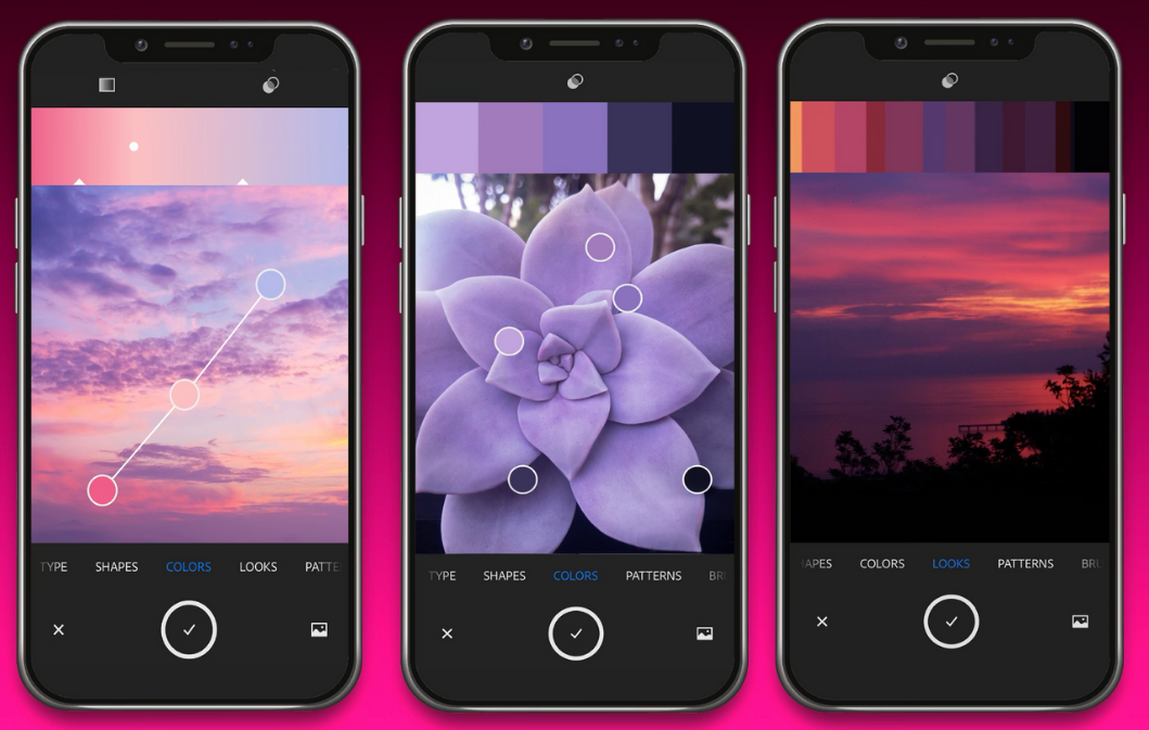 iphones with purple color palettes