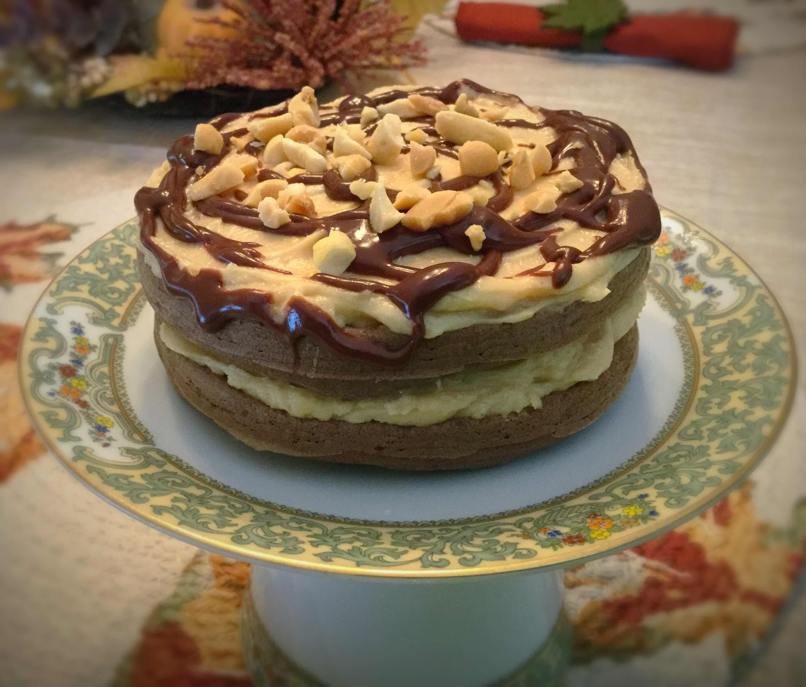 Chocolate Peanut Butter Chaffle Cake