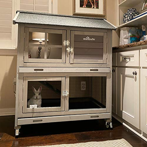 Aivituvin Rabbit Hutch Outdoor Large, Rabbit Cage Indoor Bunny Hutch Bunny Cage with Wheels -Upgrade...
