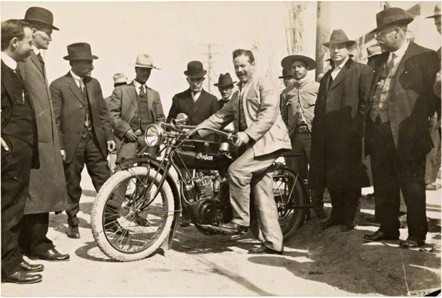 Pancho Villa Posing with an Indian Motorcycle / unknown photographer