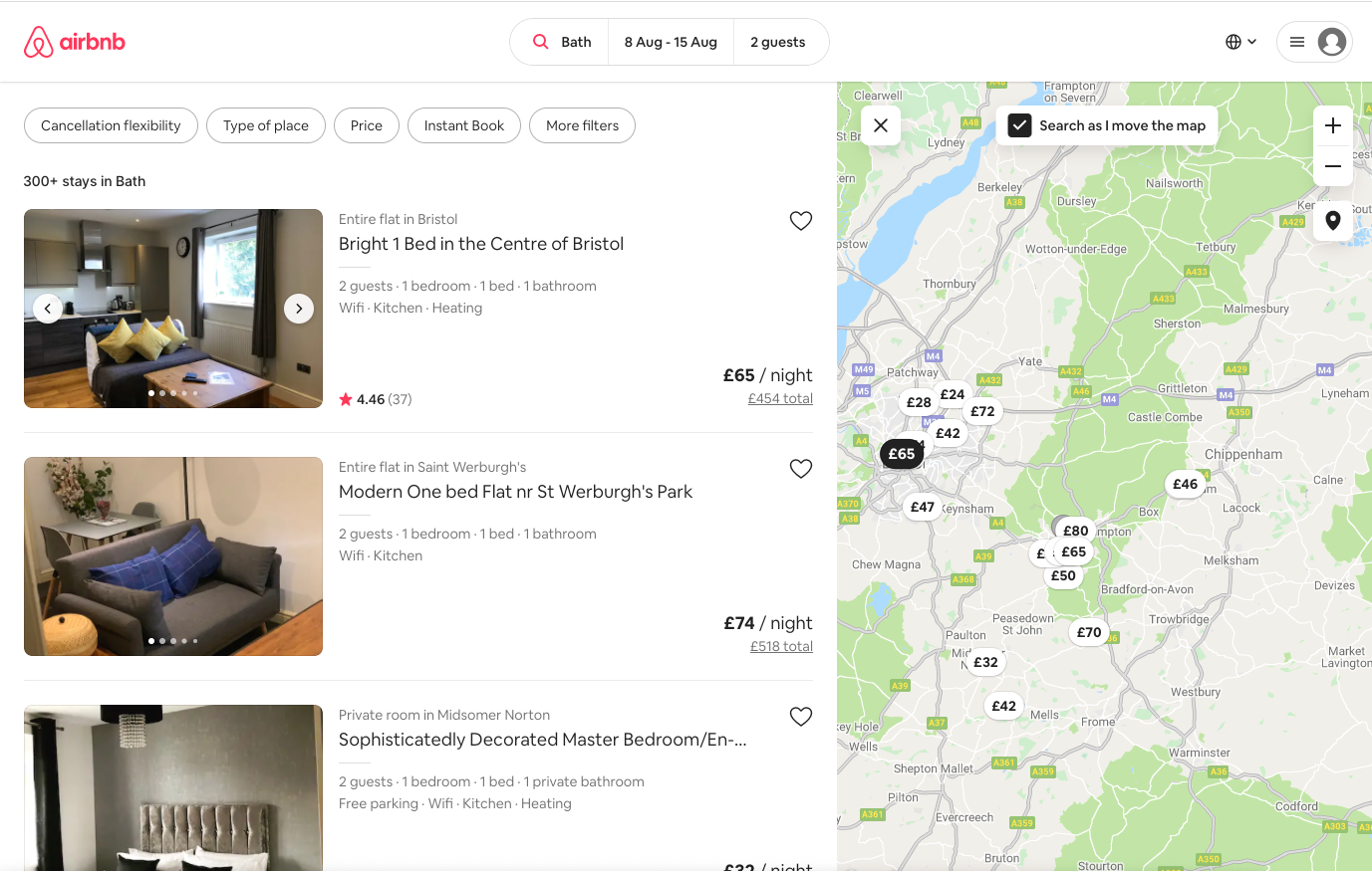 A redesign of Airbnb's 'Stays in Bath'