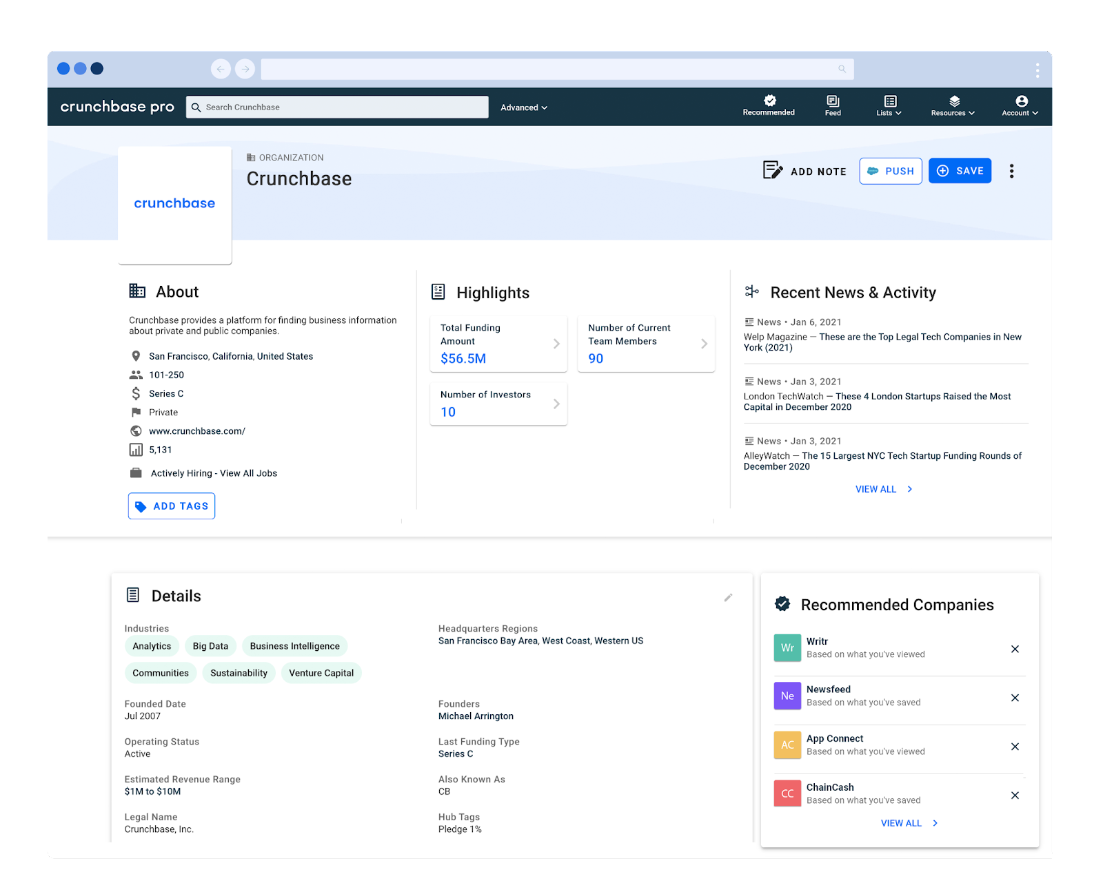 Crunchbase company profile screenshot with company description