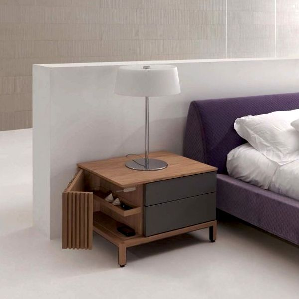 modern nightstand incorporates a slatted door on the side
