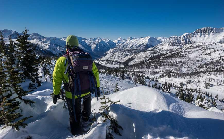 Incredible mountain scenery on the snowshoe tour