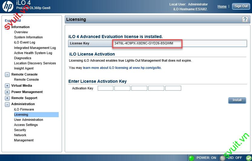install HP iLO4 license key(4)