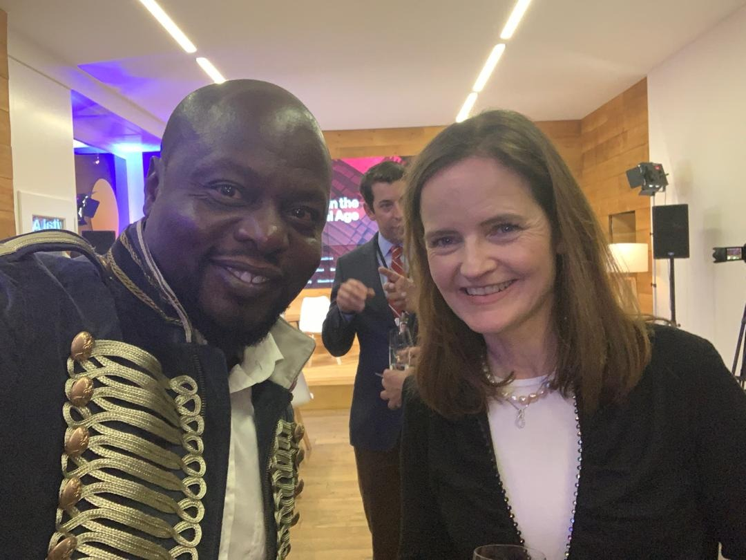Our Founder, Mamadou Toure with Charlotte Hogg, CEO of Visa, at the Davos Africa Night