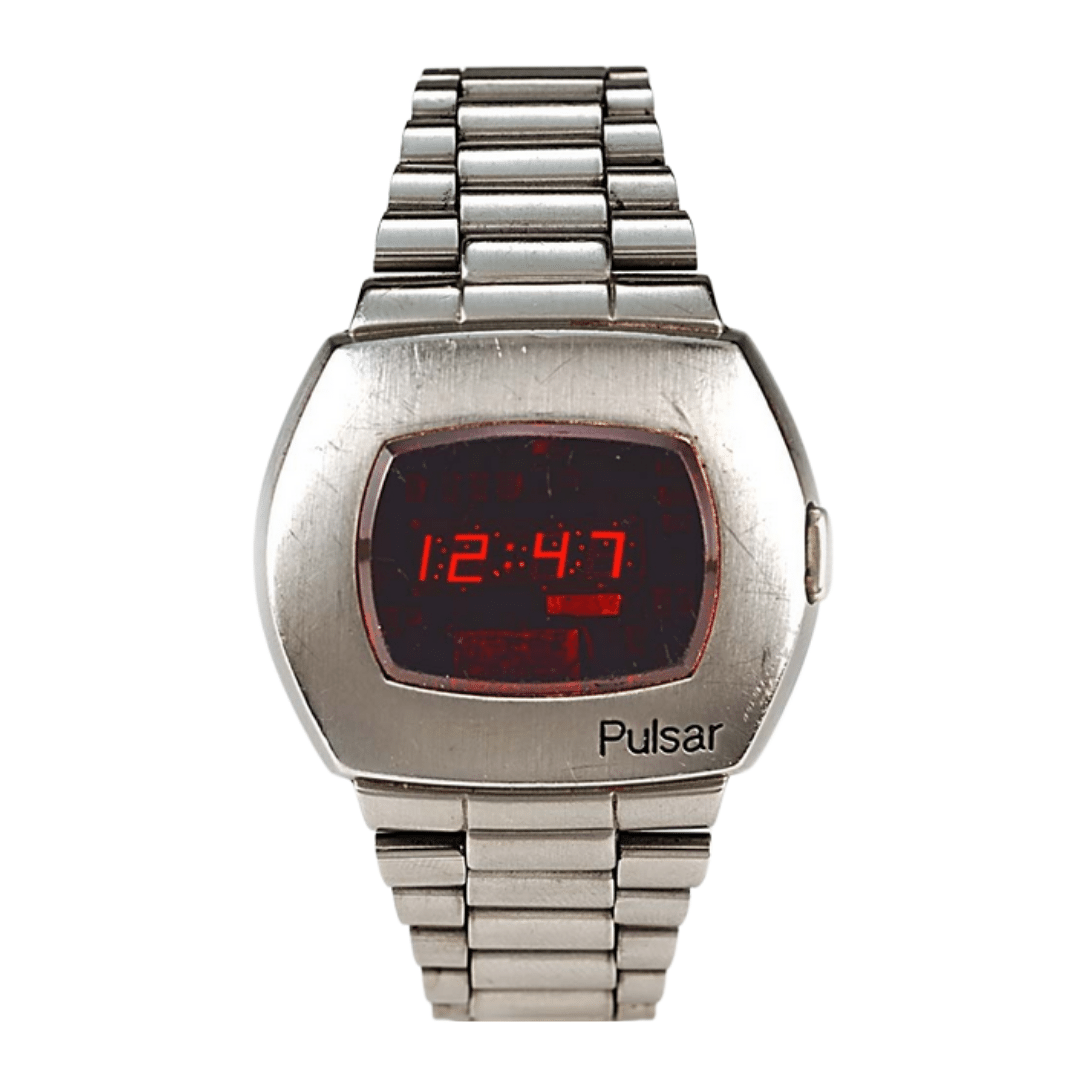 Pulsar watch in silver with a LED display.